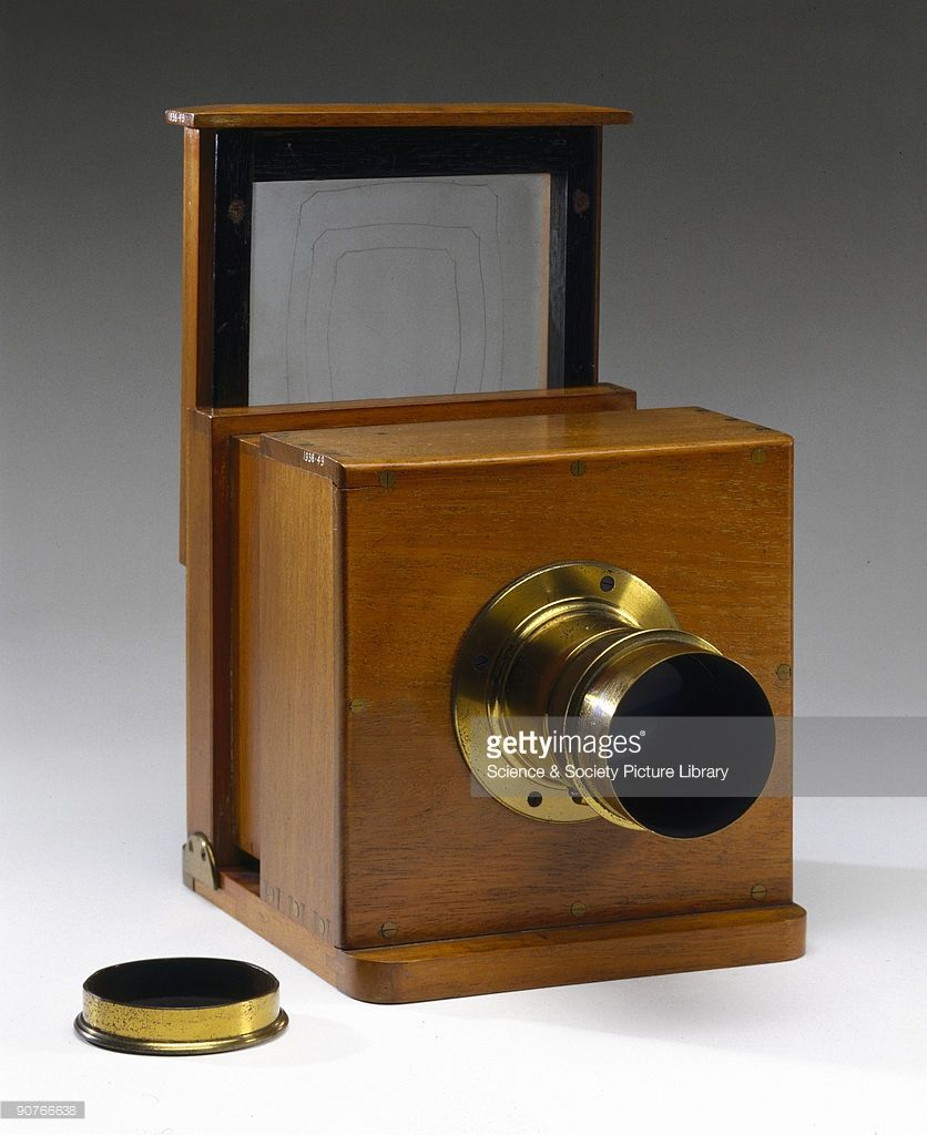 An Early Sliding Box Type Dry Collodion Plate Camera With A Lens