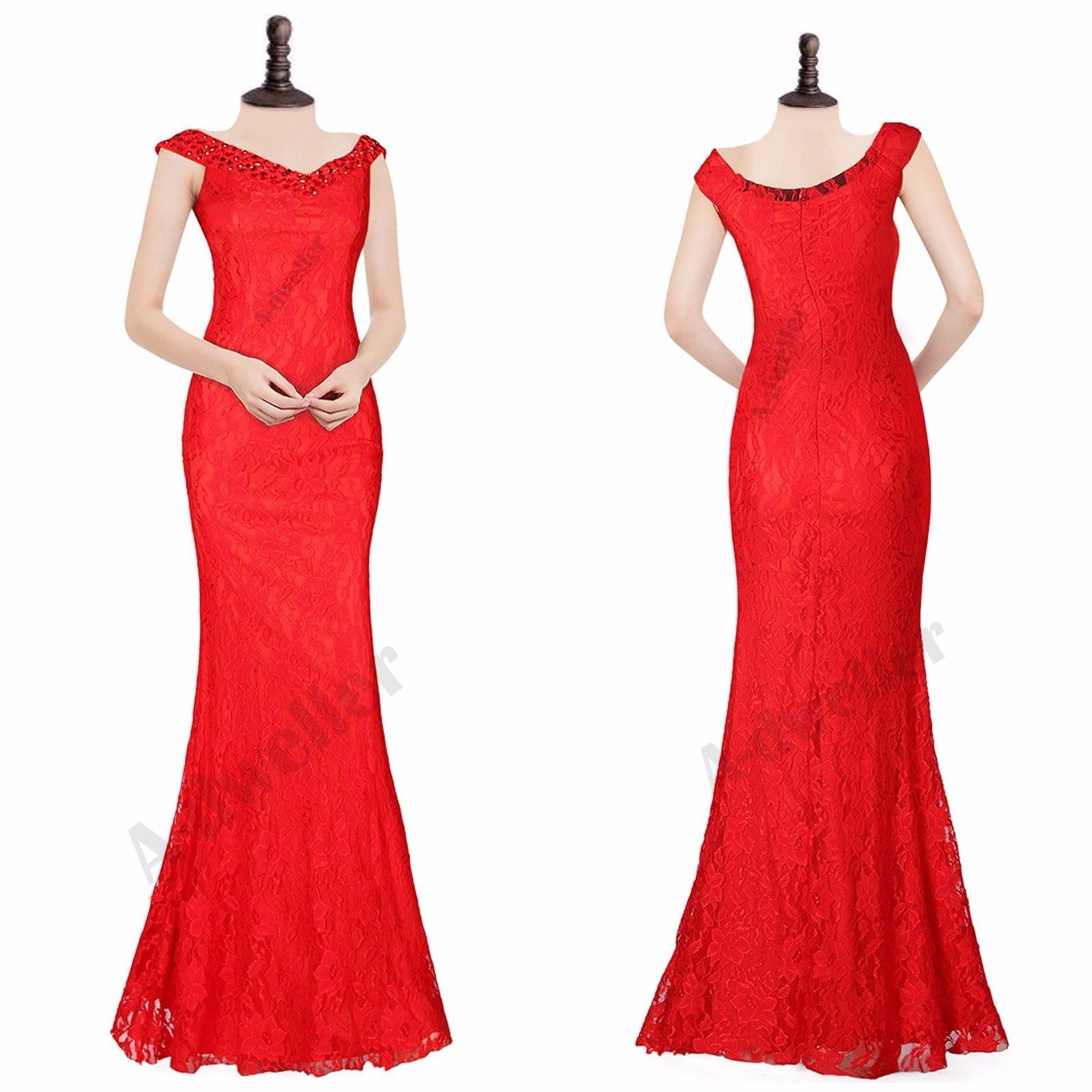 Long Maxi Lace Crystal Bead Bridesmaid Formal Ball Gown Party Evening Prom Dress