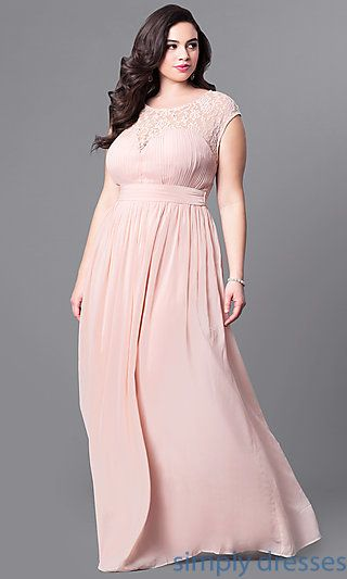 ec74da0b9bb Shop empire-waist long plus-size prom dresses at Simply Dresses. Long chiffon  plus-size formal dresses under  200 with lace bodices and cut outs.