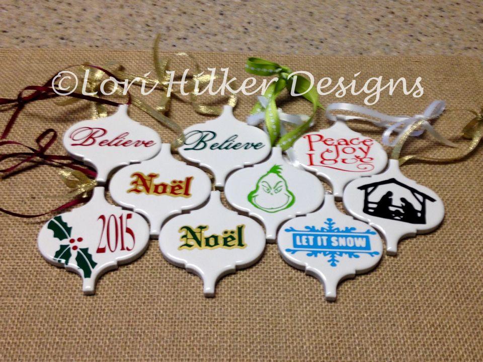 Ornaments Vinyl On Ceramic Tiles Christmas Ornaments To Make Christmas Ornament Crafts Diy Christmas Gifts