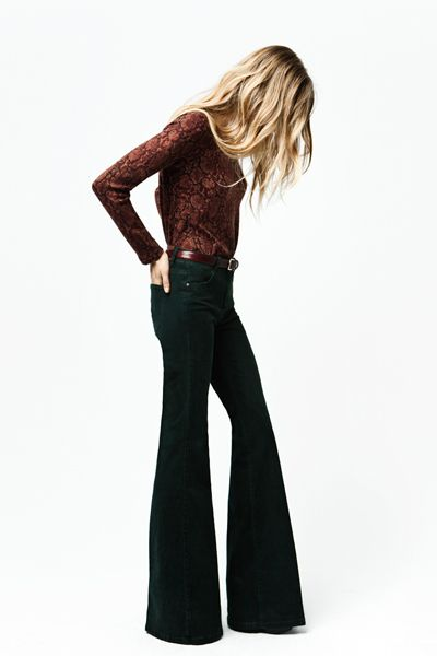 retro silhouette - the high-waisted flares work with the statement patterned blouse