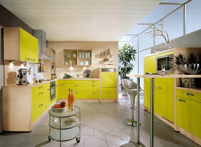 Yellow Kitchen Theme Ideas Part - 32: Unique Kitchen Themes Design Ideas With Yellow Kitchen Cabinet Paint Color  For Plans Beautify Home Interior