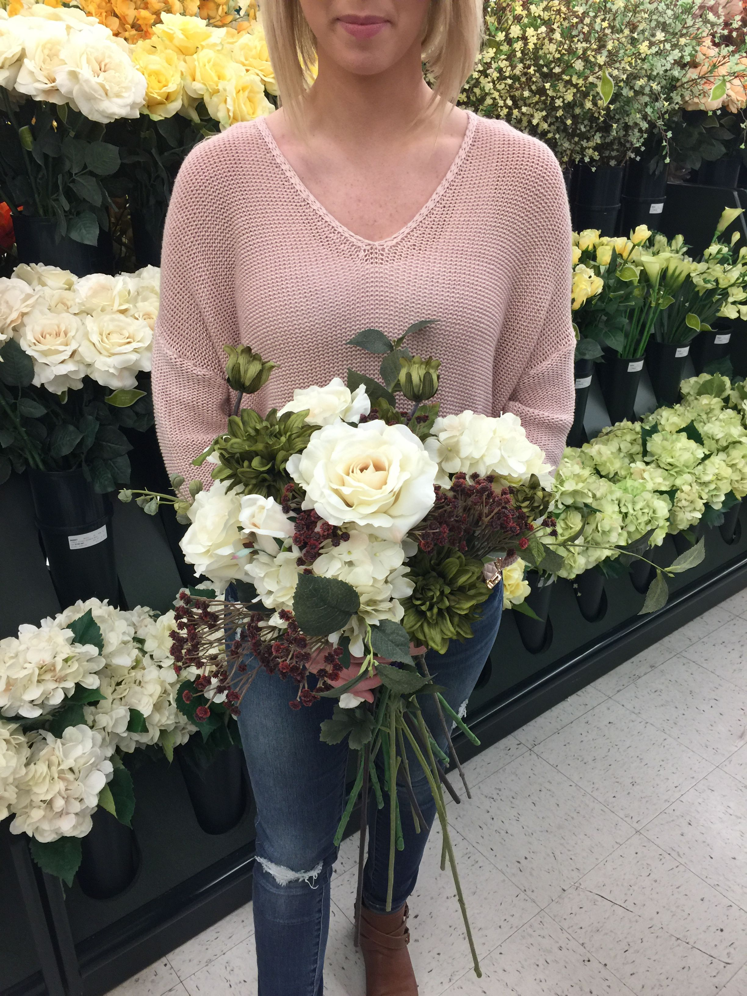 Wedding Bouquet In The Making Fall Colors Cream And Burgundy Hobby Lobby Has