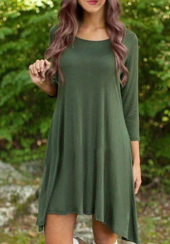 Army Green Plain Irregular Long Sleeve Fashion Midi Dress ...