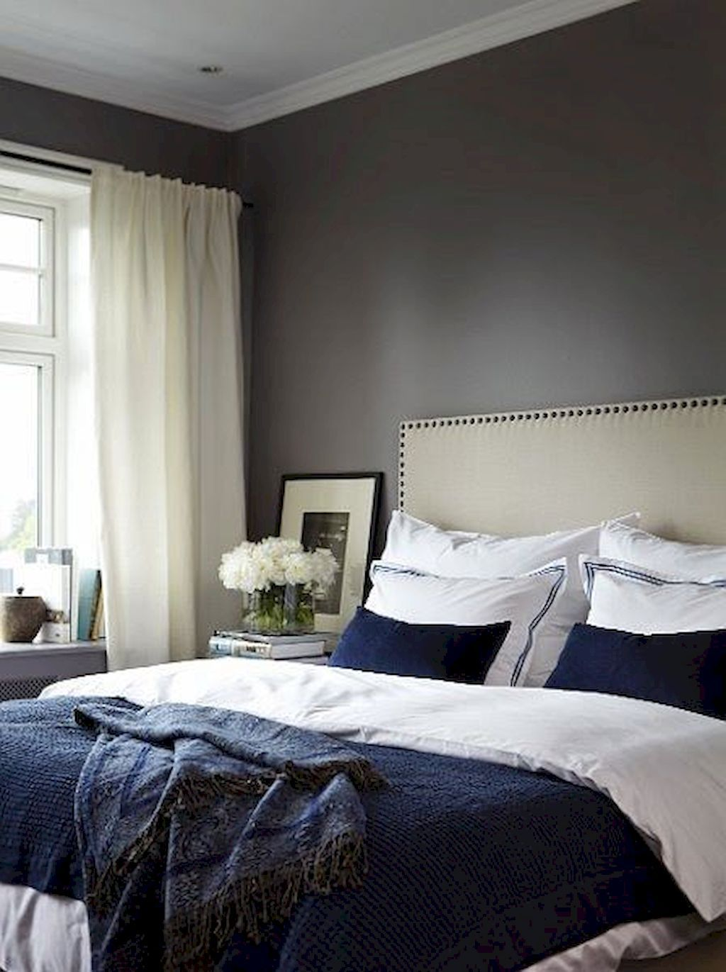 40 Navy Master Bedroom Decor Ideas | White bedroom design ...