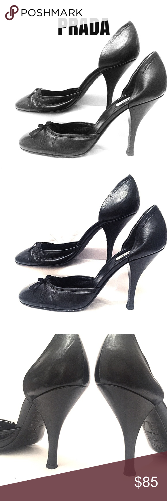 d5e0e12eeec PRADA Black High Heels With Ribbon Sz 39 PRADA black leather heels ...