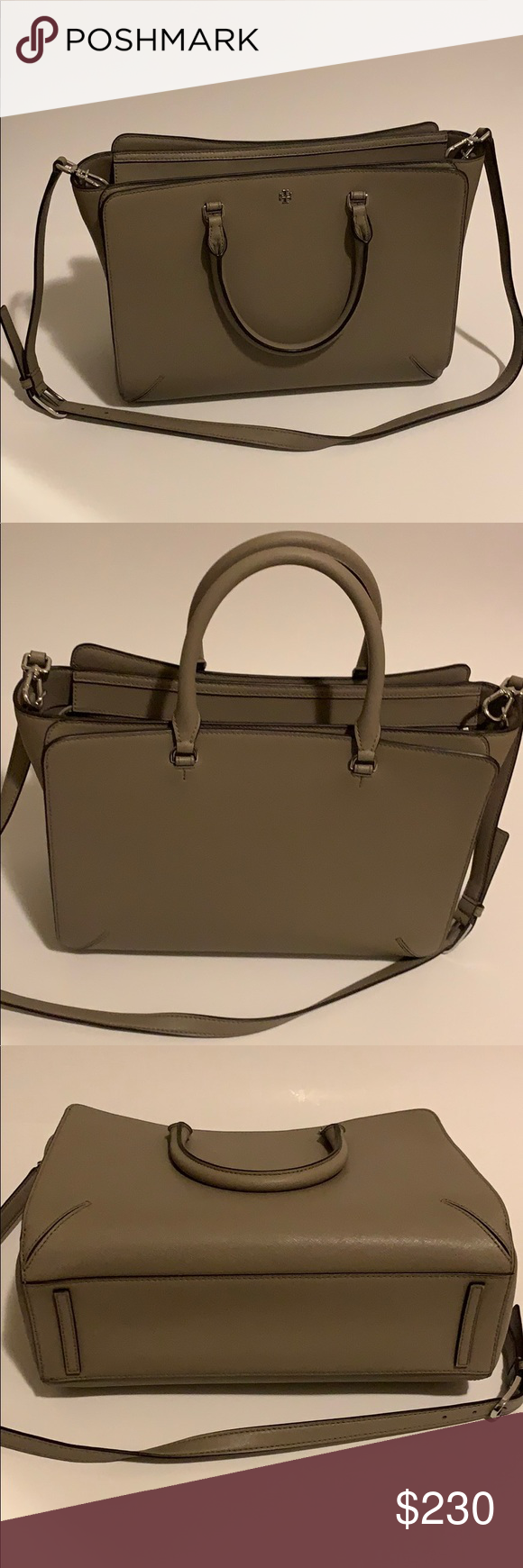 Tory Burch - Large structure tote! Like new! Tory Burch - I used it as a laptop bag and got so many compliments! It's a nice neutral taupe color. See first pic up to light to show true color! Has multiple small pockets inside. Main compartment zips & side two pockets bottom. Can carry or wear long strap on shoulder. I moved to a backpack for work so I could carry my lunch too. This is great for a large tote, traveling, work etc. This material is perfect bcuz it shows no wear and tear, stains etc. Just wipe clean! Love this bag!!! Tory Burch Bags Totes