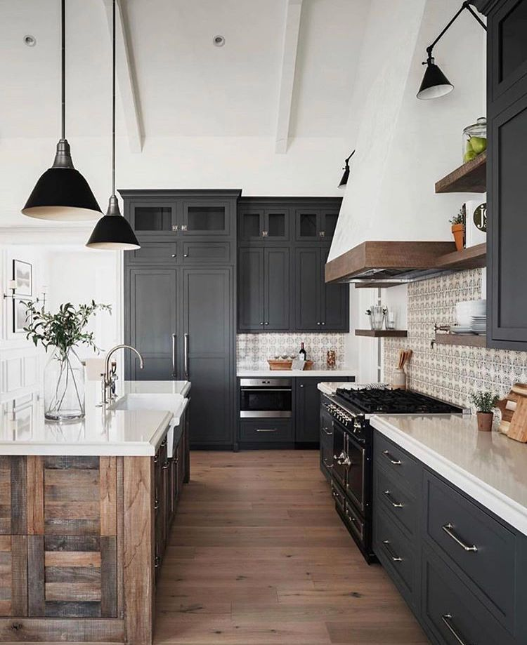 matte black cabinets with wood accents in 2020 farmhouse kitchen design rustic modern kitchen on farmhouse kitchen black and white id=40798