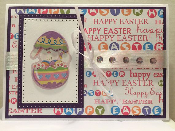 Bunny and Egg Easter Cottage Card E101