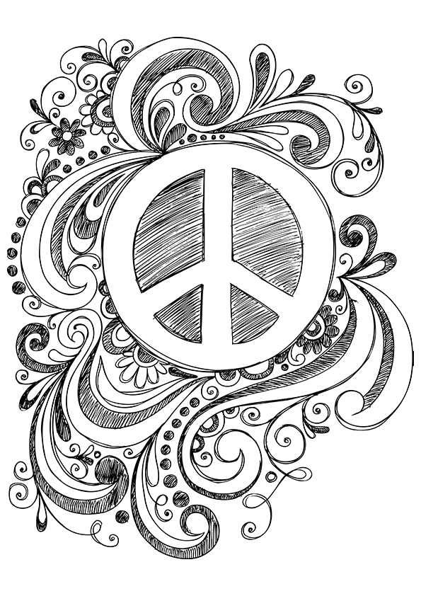 Simple And Attractive Free Printable Peace Sign Coloring Pages Art Hearty Peace Sign Art Peace Sign Drawing Coloring Pages