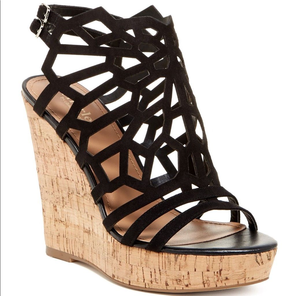 Charles David Shoes   New Charles David Platform Cutout Wedge Sandal 7 5   Color Black   Size 7 5 is part of Shoes -
