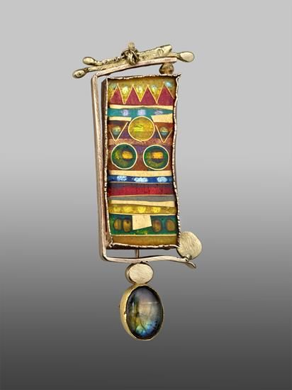 William Harper KILIM gold cloisonne' enamel on fine gold and fine silver; 14, 18, and 24 kt gold; sterling silver; Labradorite collection: Houston Museum of Fine Art
