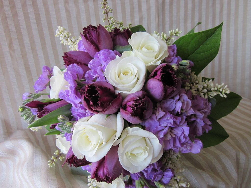 Wedding Bouquet, Purple and White Bouquet | Blooming Grace Wedding ...