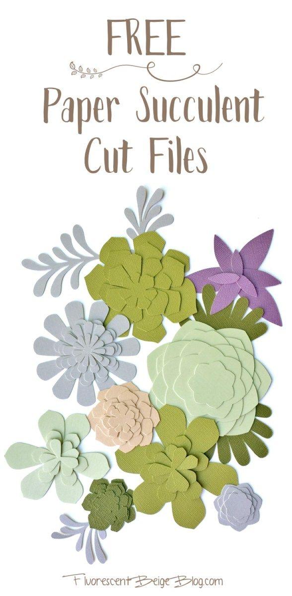 Paper Succulent Wall Art Free Cut Files Definite Diy Pinterest
