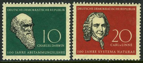 d7ec20a43681 Details about Germany DDR/GDR 388-389, MNH. Charles Darwin, Carl von ...