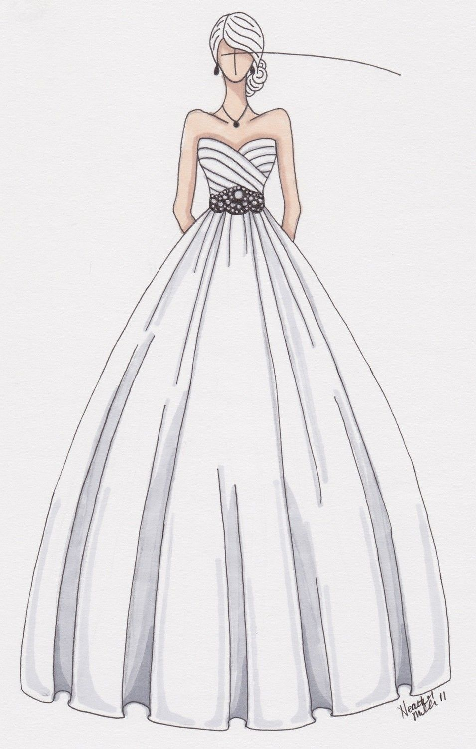 custom wedding gown sketch by gownsketch on Etsy | 有一首歌 There is ...