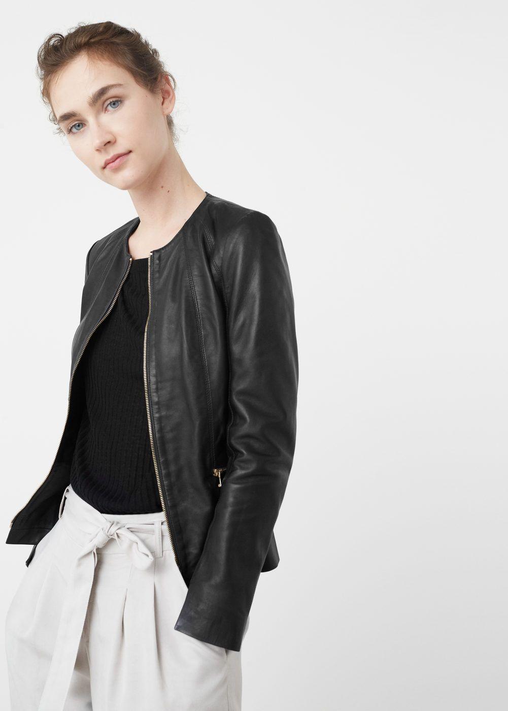 Zip Leather Jacket Women Mango Usa Zipped Leather Jacket Leather Jackets Women Work Outfits Women [ 1400 x 1001 Pixel ]