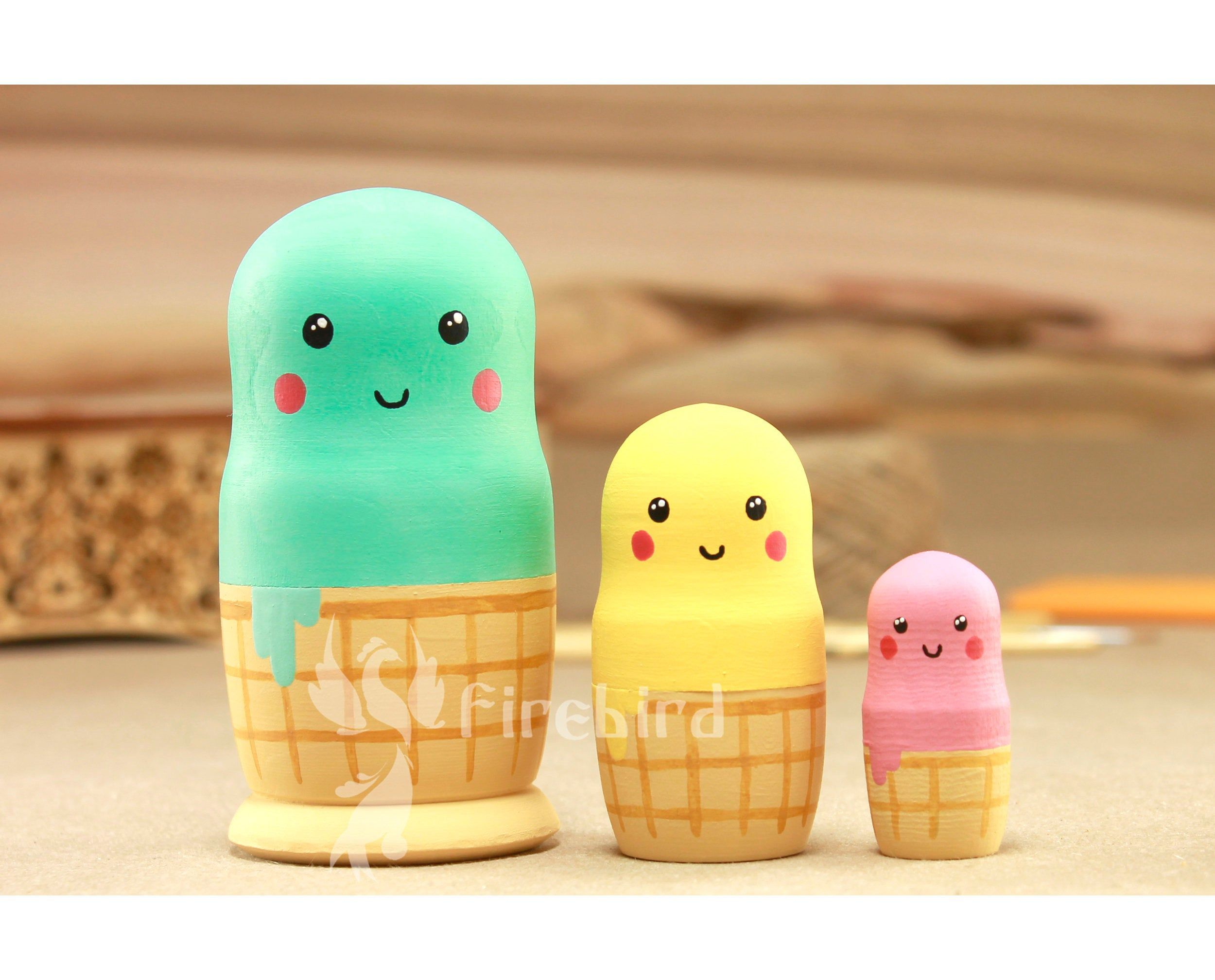 10 PCS Painted Wooden Russian Nesting Dolls Yellow Duck Matryoshka Kids Toys