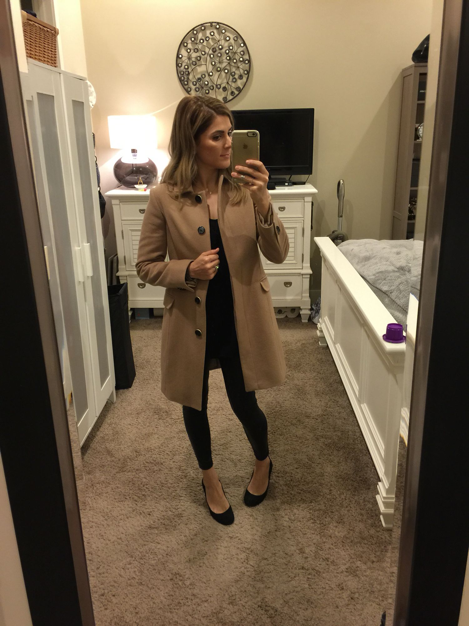 Camel coat and all black