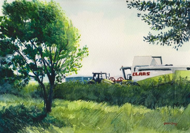 ARTFINDER: Harvest rest by Jamie Sugg - I spotted this whilst walking during the recent harvest. Both the combine and tractor had been parked to the side of the field and the drivers were having a ...