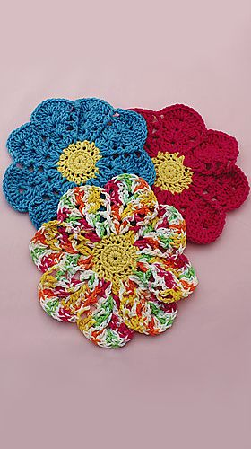 Flower Dishcloth Pattern By Lily Sugarn Cream Crochet For The