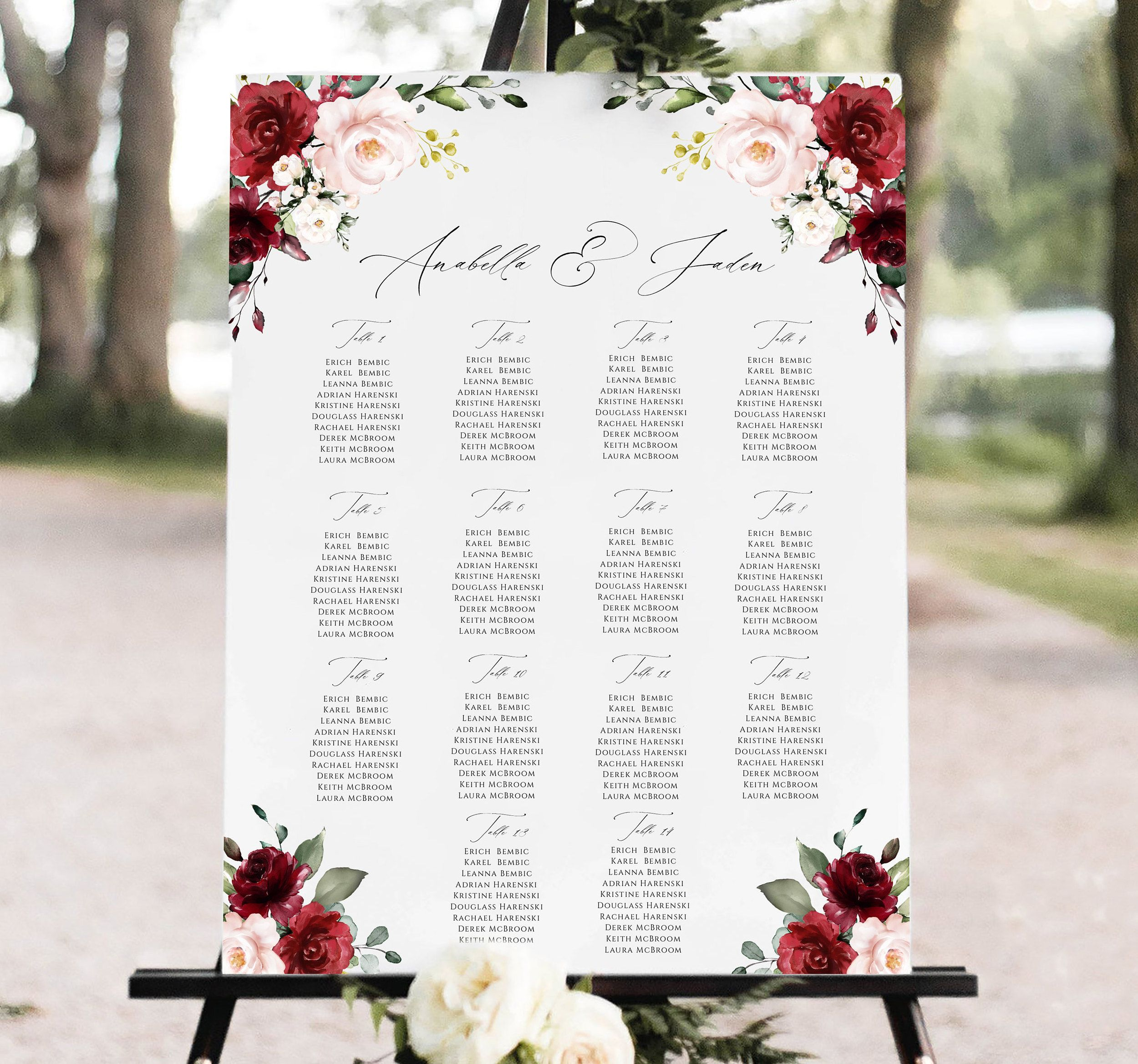 Wedding seating chart template, Fully Editable, Burgundy Wedding Seating Chart Board, Editable Seating Chart Poster, Templett #excelwordaccessetc