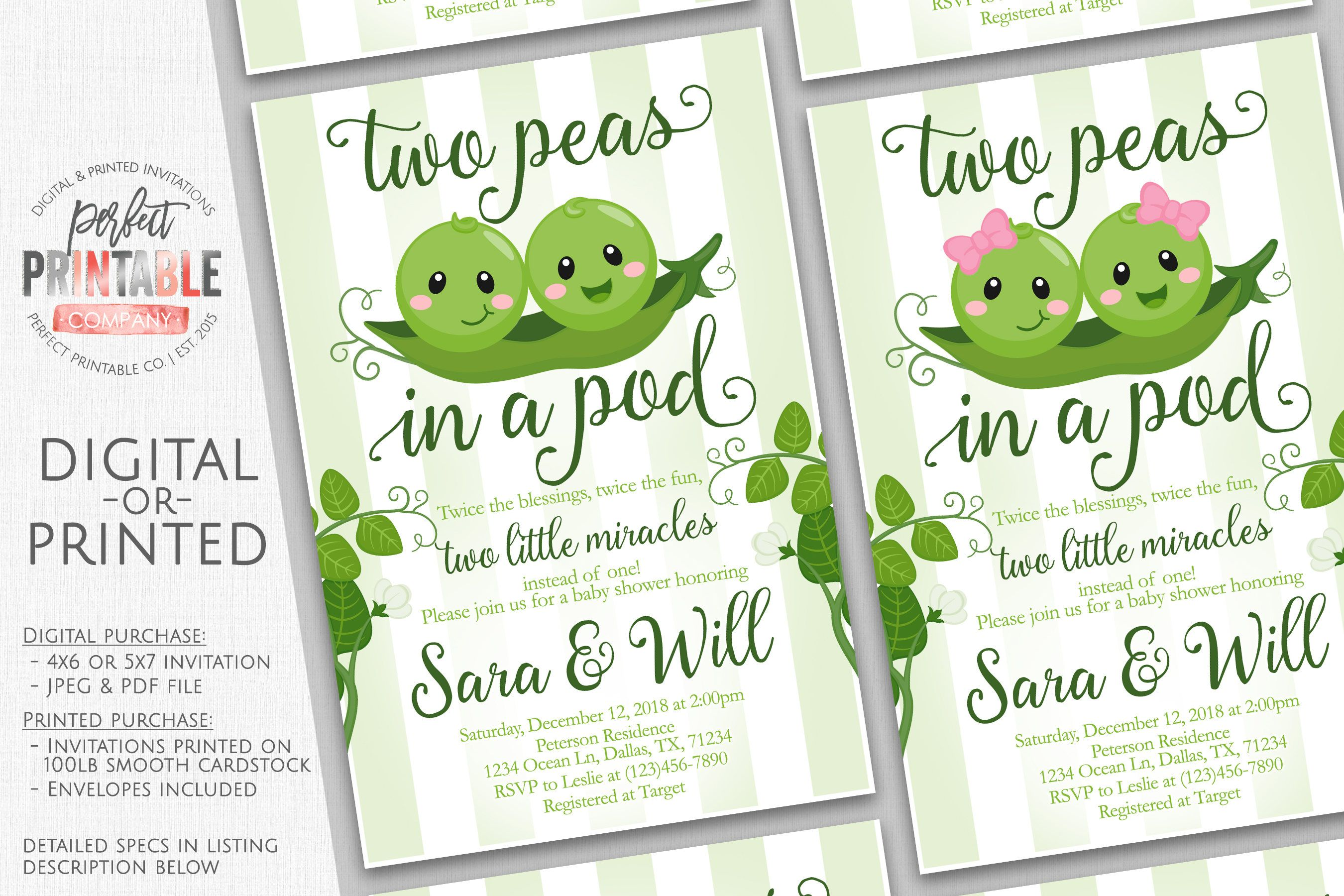 Two Peas in a Pod Baby Shower Invitation, Twins Baby Shower ...