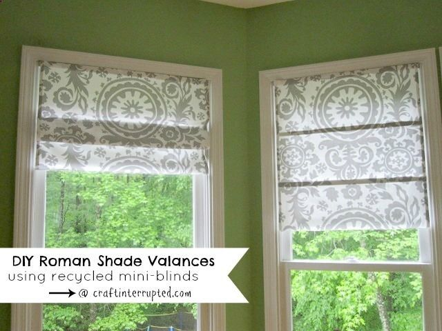 Craft, Interrupted: Makeover Monday ~ DIY Roman Shade Valances Using Mini Blinds