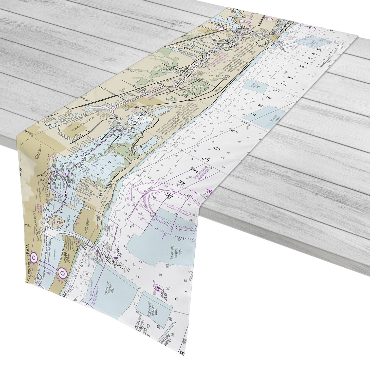 Fl Jupiter Inlet To Lake Worth Inlet Fl Nautical Chart Table Runner Nautical Chart Ocean Isle Beach Girl House