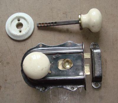 Small Victorian Rim Latch & China Door Knob Set Ref.92285A | Antique ...