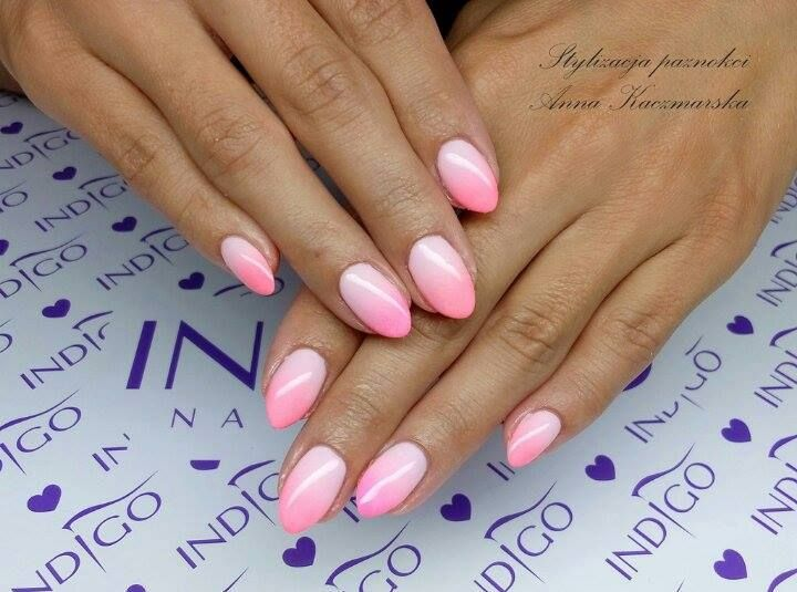 by Ania Kaczmarska Indigo Young Team :) Find more inspiration at www.indigo-nails.com #nailart #nails #indigo #ombre #pink #pastel