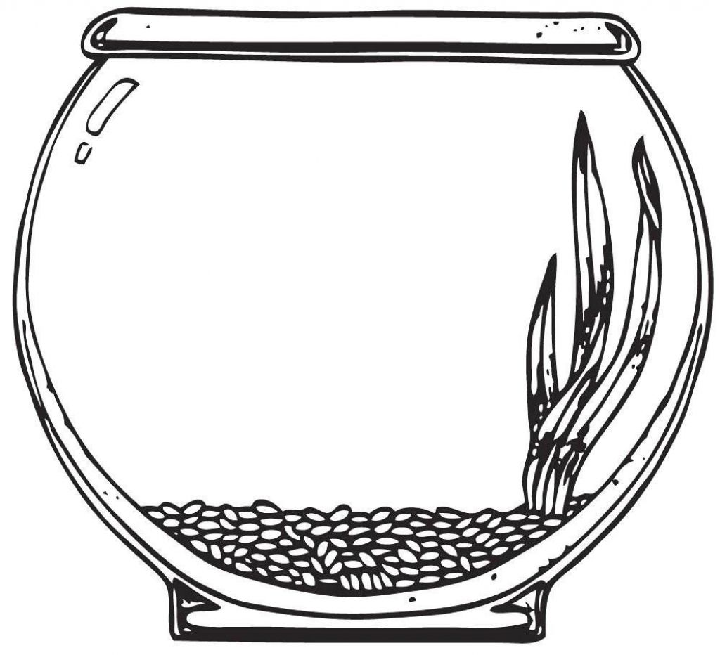 Fish Bowl Coloring Pages With Professional Page Empty 12038 4887