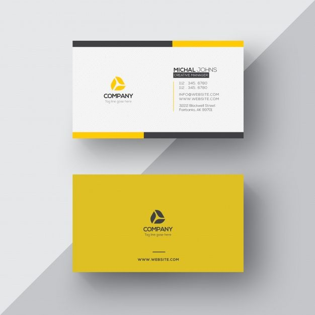 Download White And Yellow Business Card For Free Yellow Business Card Business Card Mock Up Name Card Design