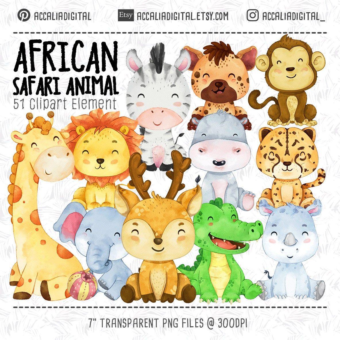 African Animals Clipart Watercolor Animal Animals Buddies Etsy Animal Clipart African Animals Animal Nursery Decor