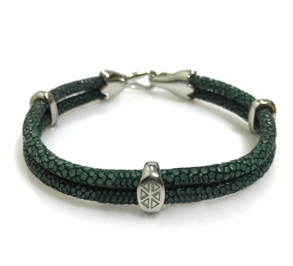 SLANT GREEN STINGRAY BRACELET IN SILVER - S209/B | Dual Cord Hand-wrapped Genuine Stingray Leather | Three Sterling Silver accents and tail-hook clasp | Rare and Exotic looking | Beautiful high-end bracelet | #caerusgallery #luxury #exotic #leather #bracelet #accessories #slantgreen - www.caerusgallery.com