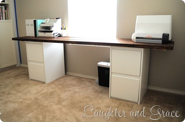 Diy Desk Two Filing Cabinets And Wood Top