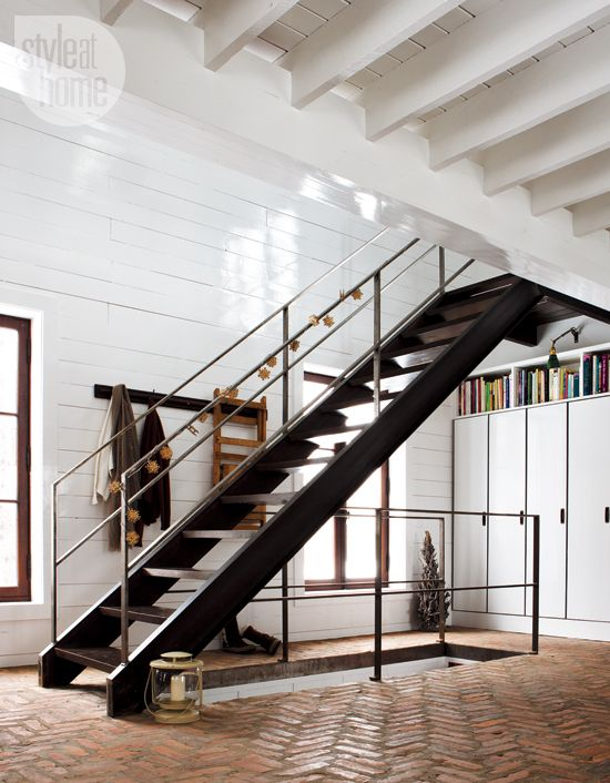Merveilleux Style @ Home   Modern Cabin, Industrial Stair Paired W/ Herringbone Brick  Floor (article Stephanie Whittaker; Photog Jean Longpre; Styling Nicola  Marc)