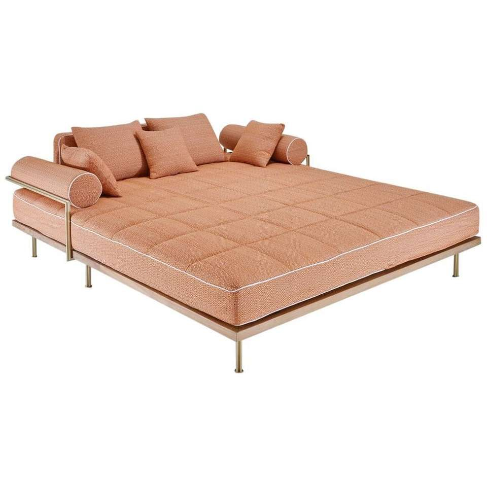 Outdoor lounge bed in reclaimed hardwood and brass frame by p