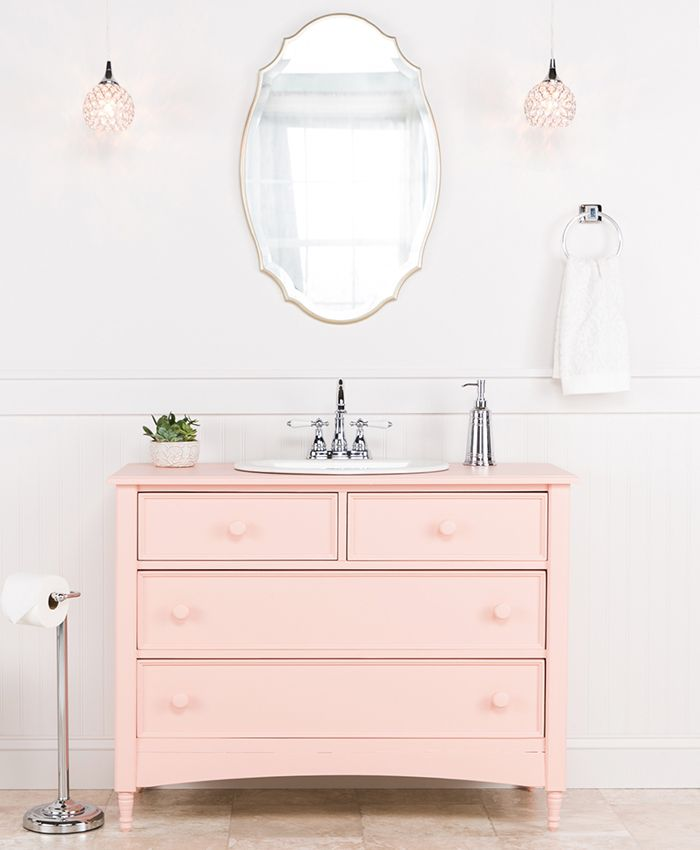 Upcycled Bathroom Ideas: Pink Upcycled Dresser As A Bath Vanity