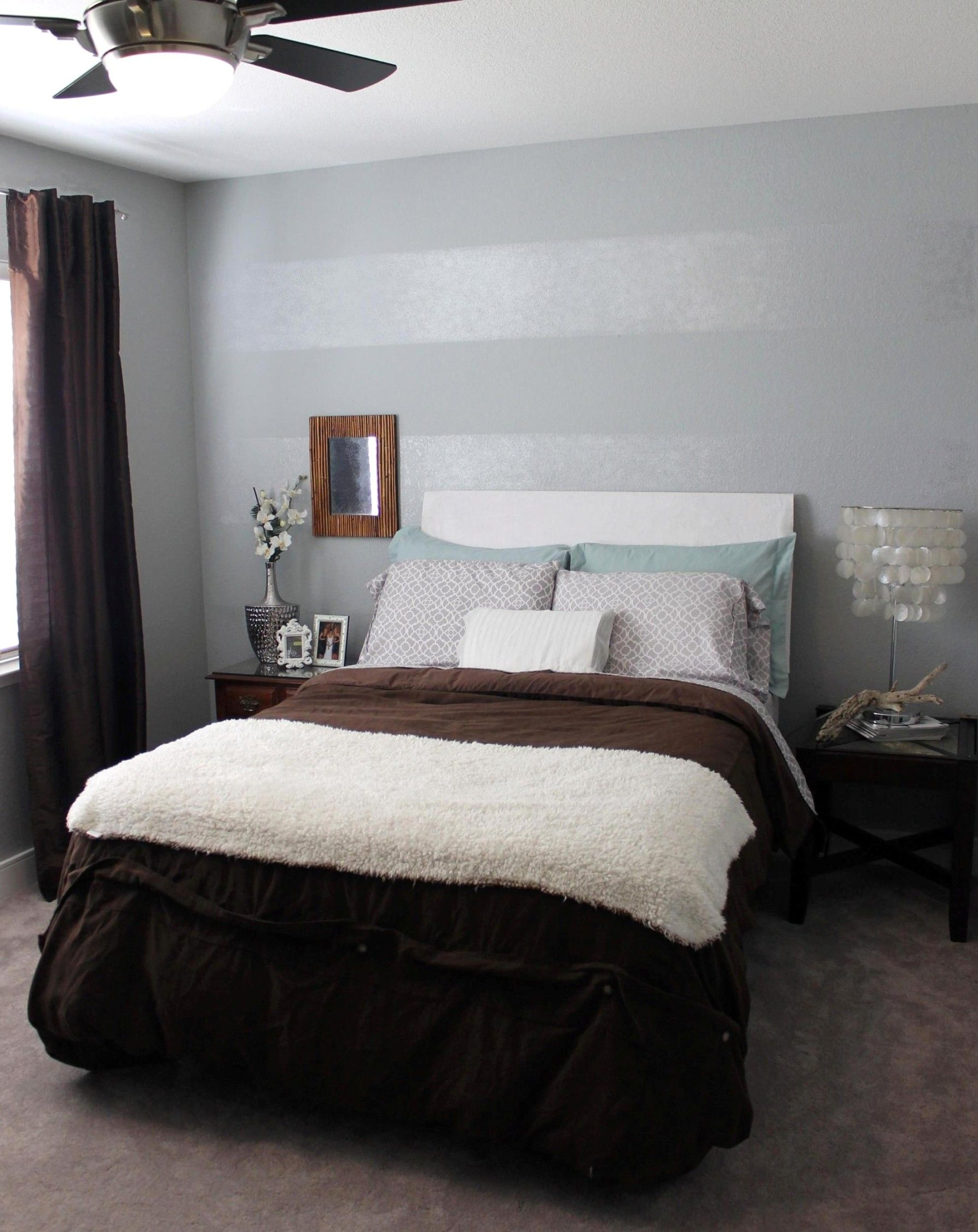 Going To Do This Tone On Tone Striped Accent Wall In Silver - Striped accent walls bedrooms