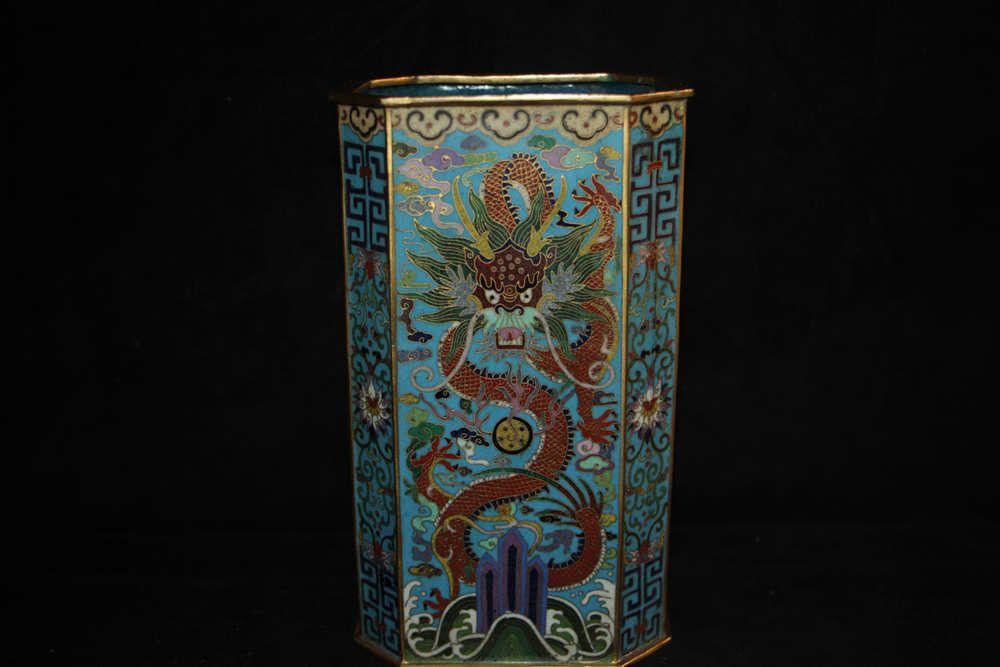 Excellent Chinese cloisonne wire inlay gilt dragons flowers brush pot