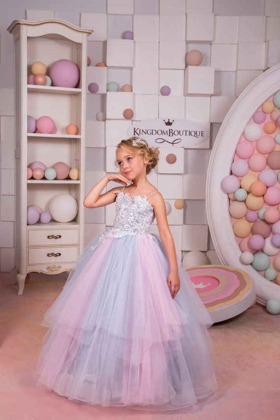 Pink and grey tulle flower girl dress birthday wedding party pink and grey tulle flower girl dress by kingdomboutiqueua mightylinksfo