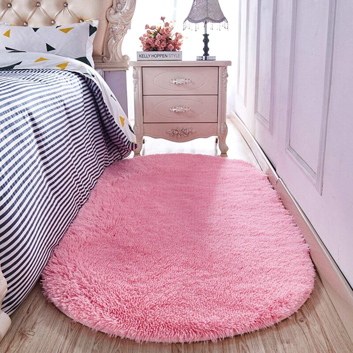 Yj Gwl High Pile Shaggy Pink Rugs For Girls Rooms Bedroom Anti Slip Oval Nursery Carpet Soft Fluffy Area Rugs 2 6 In 2020 Rugs In Living Room Bedroom Flooring Pink Rug