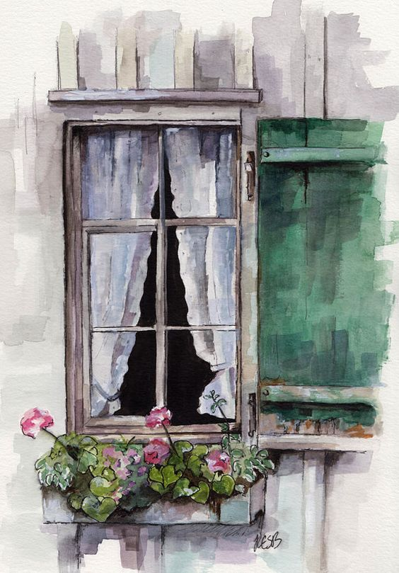 Watercolour Cottage Window With Shutter And Summer Flowers In A