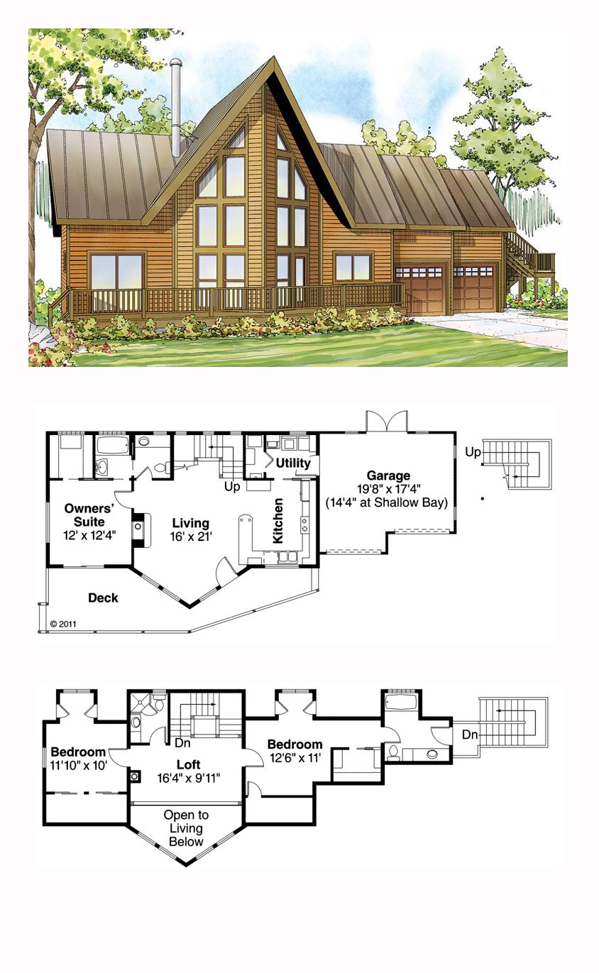 Cottage Style House Plan 59495 With 3 Bed 3 Bath 2 Car Garage Cabin House Plans A Frame House Plans House Plans
