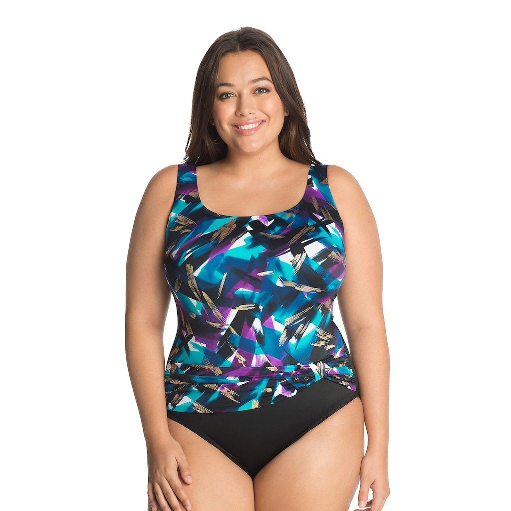 79e5ca4d73cbf Plus Size Great Lengths Tummy Slimmer Floral Sash Detail One-Piece Swimsuit,  Purple