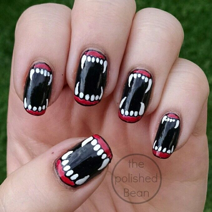creepy Halloween fang nails | Swag nails, Nails, Halloween ...