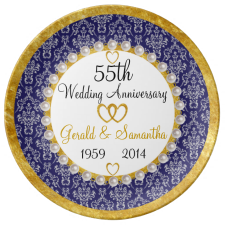 Personalized 55th Anniversary Porcelain Plate