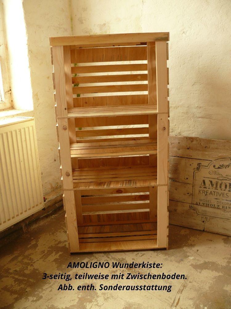 WUNDERKISTE: Obstkiste Weinkiste Apfelkiste 3er Set mit Deckel #AMOLIGNO