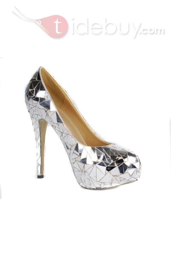 d36c8f7e3bed Glittering Silver Platform Stiletto Heels Closed-toe Prom Evening Shoes